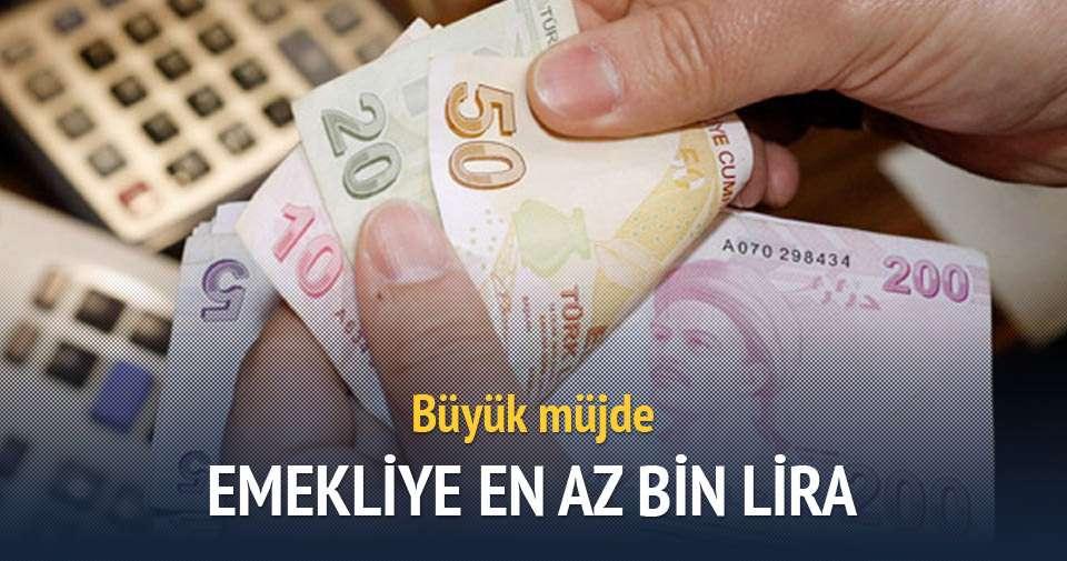 İşçi emeklisine en az bin lira