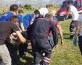 Yaralı işçi ambulans helikopterle kurtarıldı