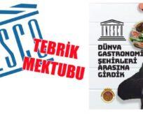 UNESCO'dan tebrik mektubu