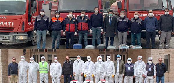 Belediye ekipleri vatandaşlara seslendi; 'Evinde kal Emirdağ'