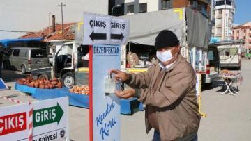 Sandıklı semt pazarlarında covid-19 önlemleri