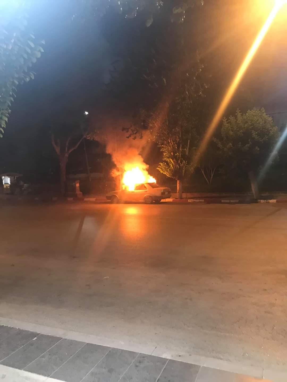 Tepki için otomobilini yaktı